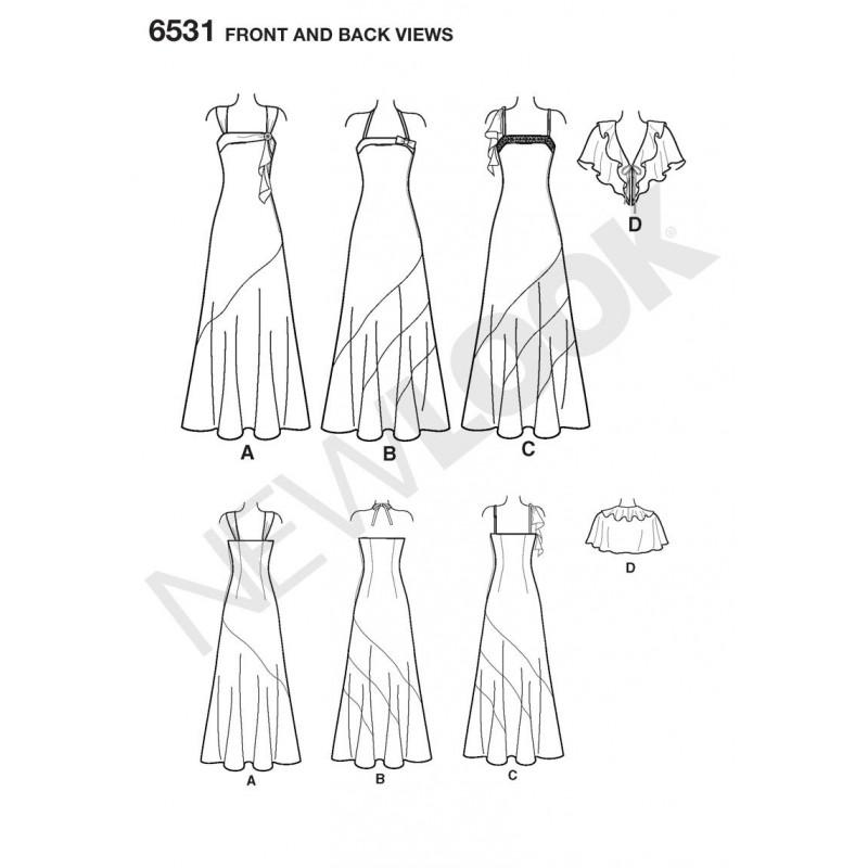 7705f03c ... Lang kjole 3 varianter Snitmønster NEW LOOK ...