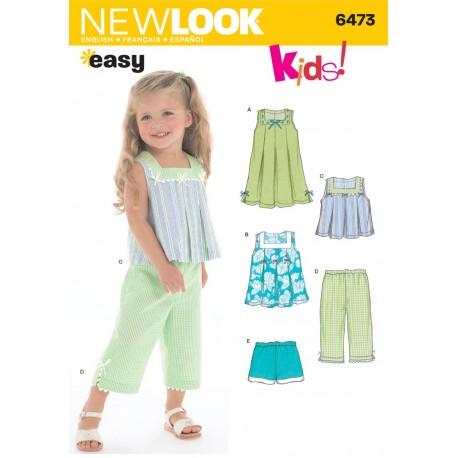 Snitmønster Pigetøj kjole,bukser og topNEW LOOK EASY