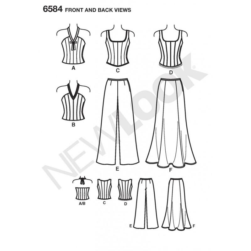 Corsage,top,bukser og nederdel snitmønster NEW LOOK