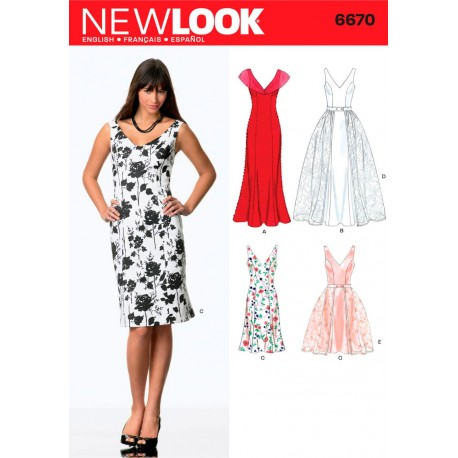 Brudekjole/kjole 4 varianter Snitmønster NEW LOOK