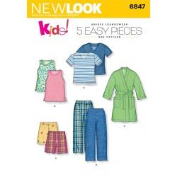 Børnetøj, dreng/pige Pyjamas og badekåbe Snitmønster NEW LOOK easy