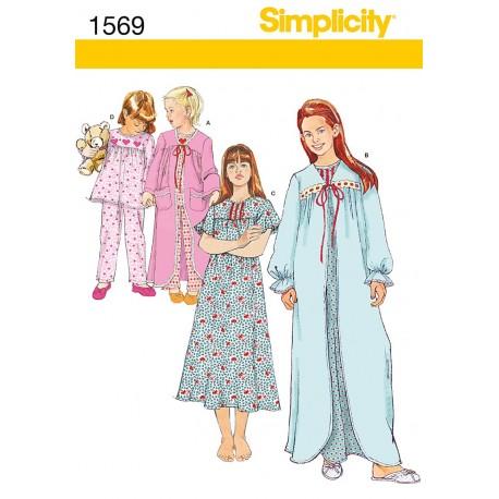 Natkjole og Pyjamas, børn Snitmønster