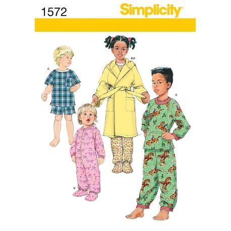 Natdragt og pyjamas, børn Snitmønster