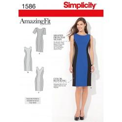 Kjole, 3 varianter, AmazingFit Snitmønster Plusmode