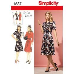 1940 Retro kjole, 2 varianter, 2 størrelser Snitmønster