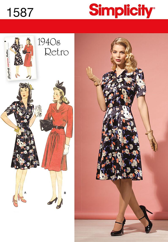 1940 Retro kjole, 2 varianter Snitmønster