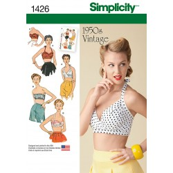 Bikinitop 1950 retro 4 varianter snitmønster Simplicity