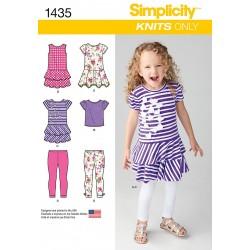 Pigekjole , bluse og leggings snitmønster Simplicity