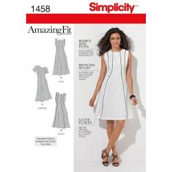 Kjole 3 varianter plusmode snitmønster Simplicity