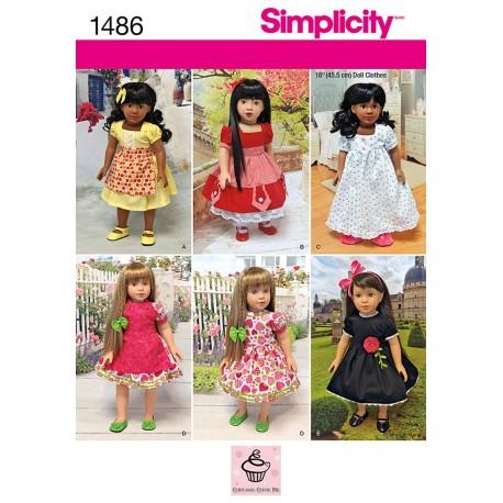 Dukketøj 45,5 cm dukke 6 kjole snitmønster