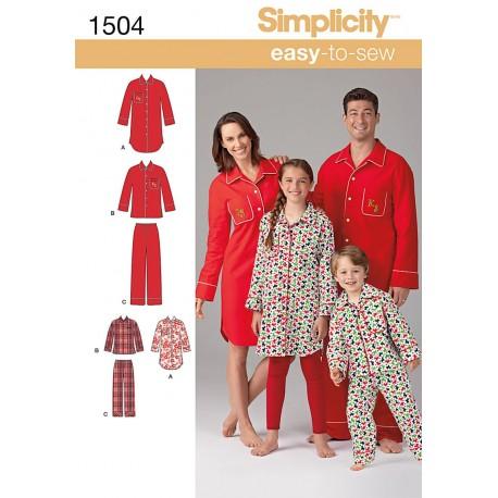 Pyjamas og natskjorte til hele familien snitmønster easy