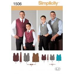 Vest , slips og sløjfe til far/søn PLUS SIZE snitmønster