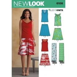 Nederdel, bluse og tørklæde 3 varianter snitmønster NEW LOOK