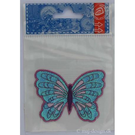 Sommerfugl Turkis/pink Shiny 7x5 cm