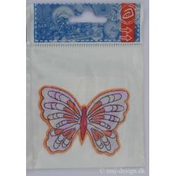 Sommerfugl Lilla/orange/rød 7x5 cm Strygemærke