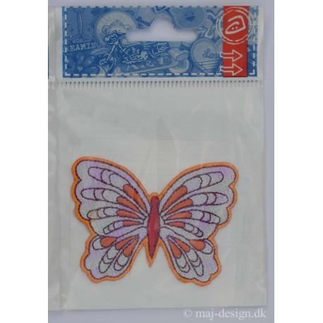 Sommerfugl Lilla/orange/rød 7x5 cm Shiny Strygemærke