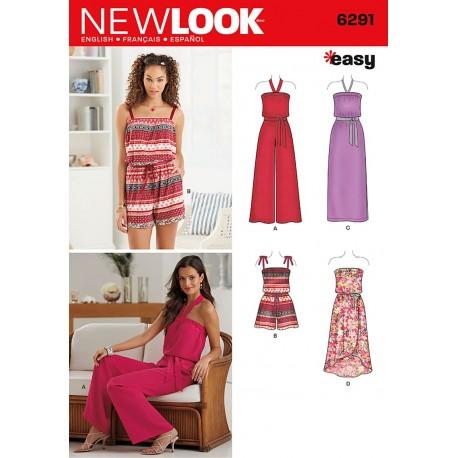 Buksedragt og kjole snitmønster NEW LOOK easy
