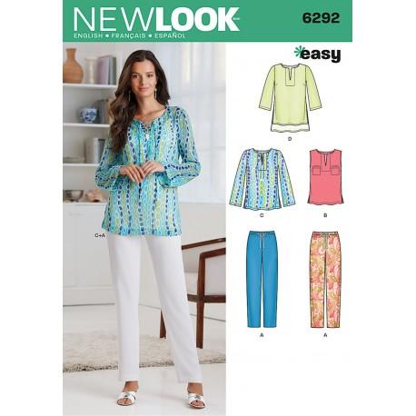 Tunika og bukser snitmønster NEW LOOK easy