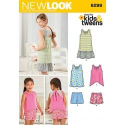 Pigekjole m/åben ryg shorts og bluse snitmønster NEW LOOK