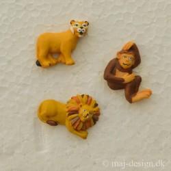 Knap m/øje Løve og abe 28mm