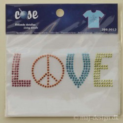 Rhinestone Strygemærke LOVE 10x3,5 cm