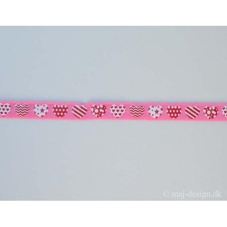 Rød/lyserød m/hjerter folde elastik 15mm