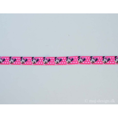 Minnie Mouse folde elastik pink 15mm