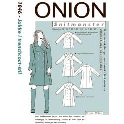 Jakke i trenchcoate-stil onion snitmønster