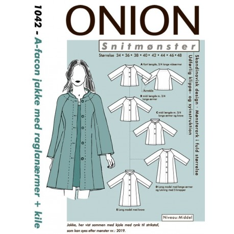 Jakke m/raglanærmer+kile A-facon onion snitmønster