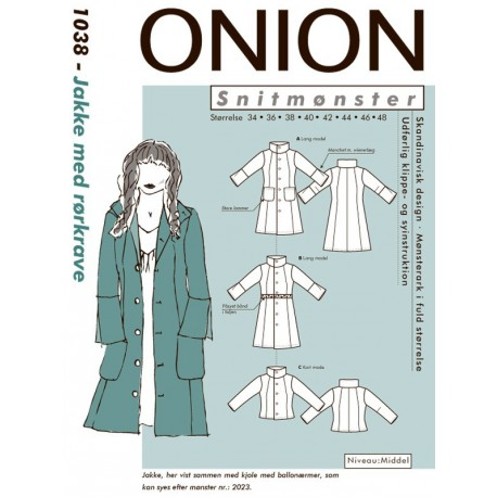Jakke m rørkrave Onion snitmønster 1038