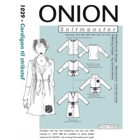 Cardigan til strikstof Onion snitmønster 1029