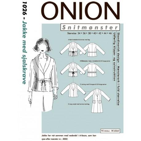 Jakke med sjalskrave Onion snitmønster 1026
