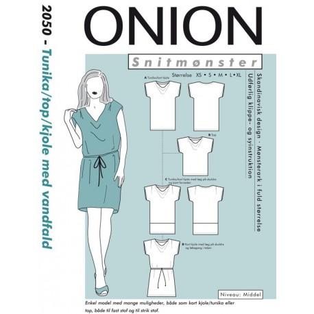 Kjole/tunika/top med vandfald onion snitmønster 2050