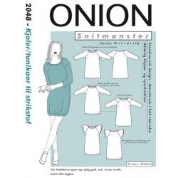 Kjole/tunika til strikstof onion snitmønster 2048