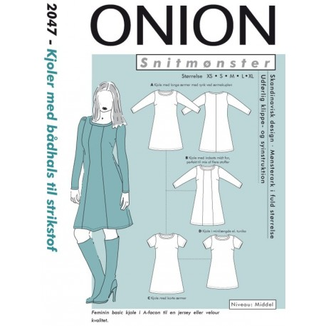 Kjole med bådudskæring onion snitmønster 2047
