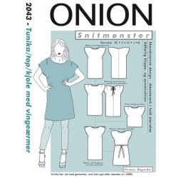 Kjole tunika med vingeærmer onio snitmønster 2043