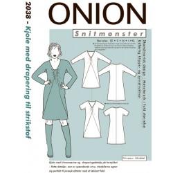 Kjole med drapering onion snitmønster 2038