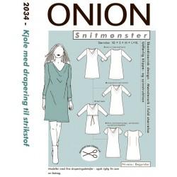 Kjole med drapering onion snitmønster 2034