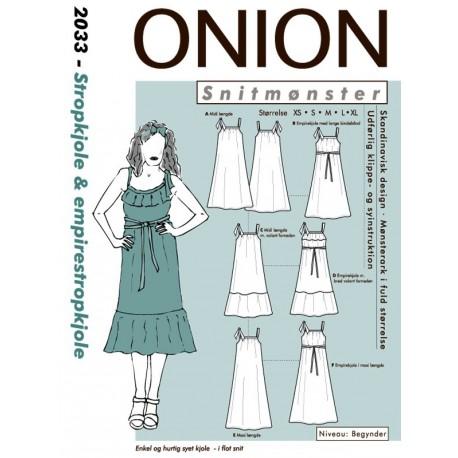 Strop kjole og empirekjole onion snitmønster 2033
