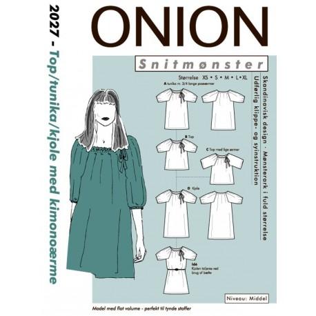 Kjole, tunika med kimonoærmer onion snitmønster 2027