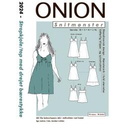 Kjole/top m/drejet bærestykke onion snitmønster