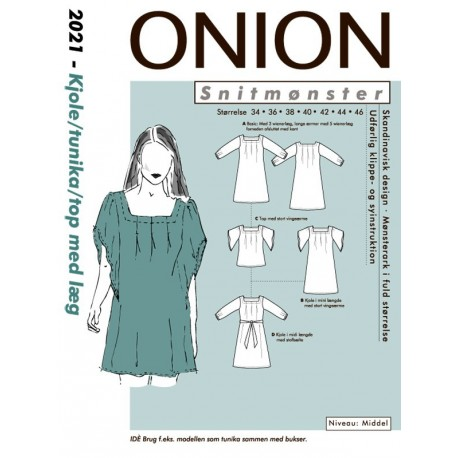 Kjole, toip, tunika, med læg onion snitmønster 2021