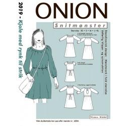 Kjole med rund hals og rynk onion snitmønster 2019