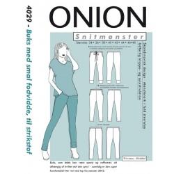 Buks med smal fodvidde onion snitmønster 4029
