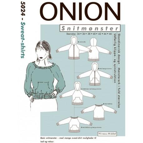 Sweat-shirt m/u lynlås onion snitmønster 5024