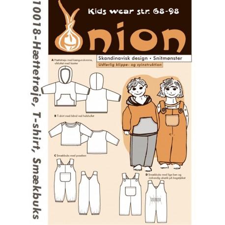 Hættetrøje, T-shirt og smækbukser onion snitmønster 10018