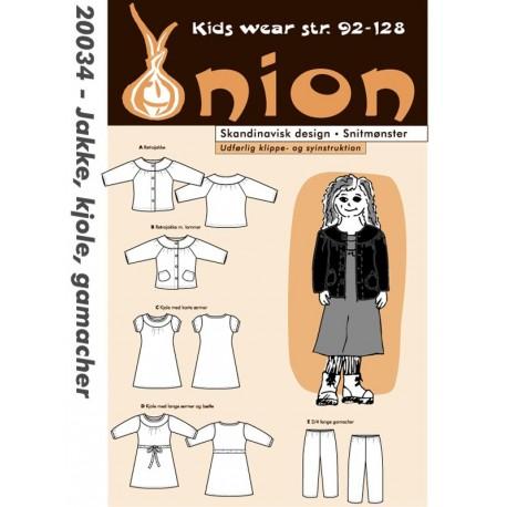 Jakke, kjole og gamacher onion snitmønster 20034