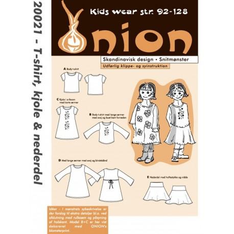 T-shirt, kjole og nederdel onion snitmønster 20021