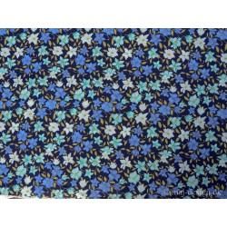 Marineblå m/blomster bomuld