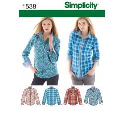 Dame skjorte 4 varianter snitmønster simplicity